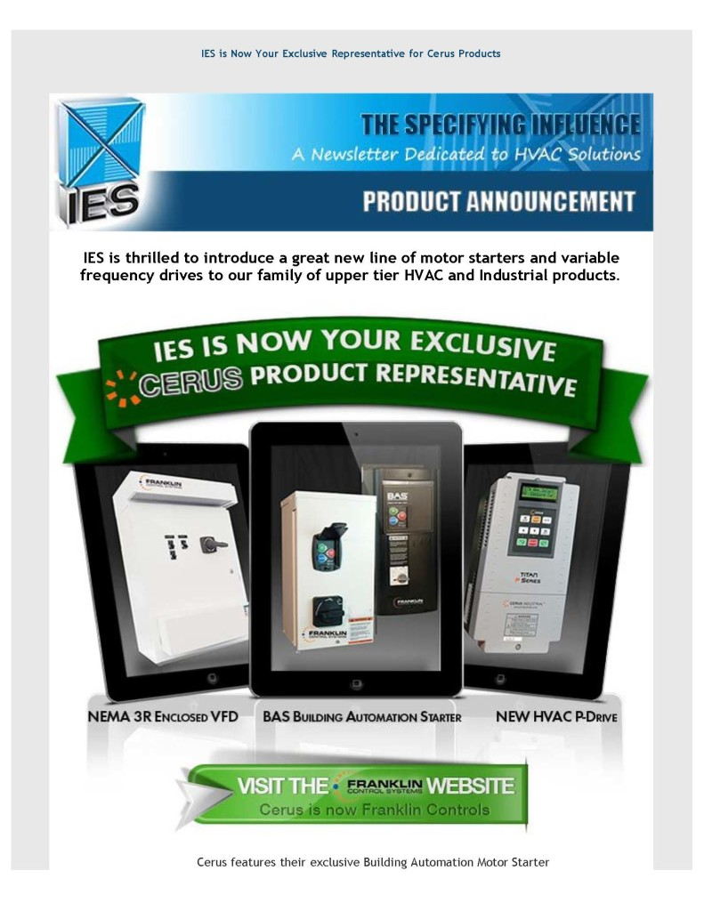 IES is Thrilled To Now Your Exclusive Representative for Cerus Products