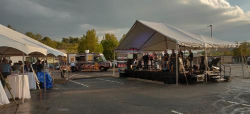 Tent, Food trucks and band